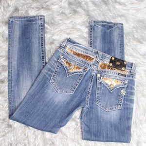 Miss Me Gold Pocket Sequins Straight Leg Jeans
